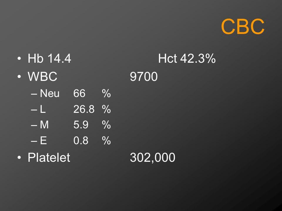 CBC Hb 14.4 Hct 42.3% WBC 9700 Platelet 302,000 Neu 66 % L 26.8 %