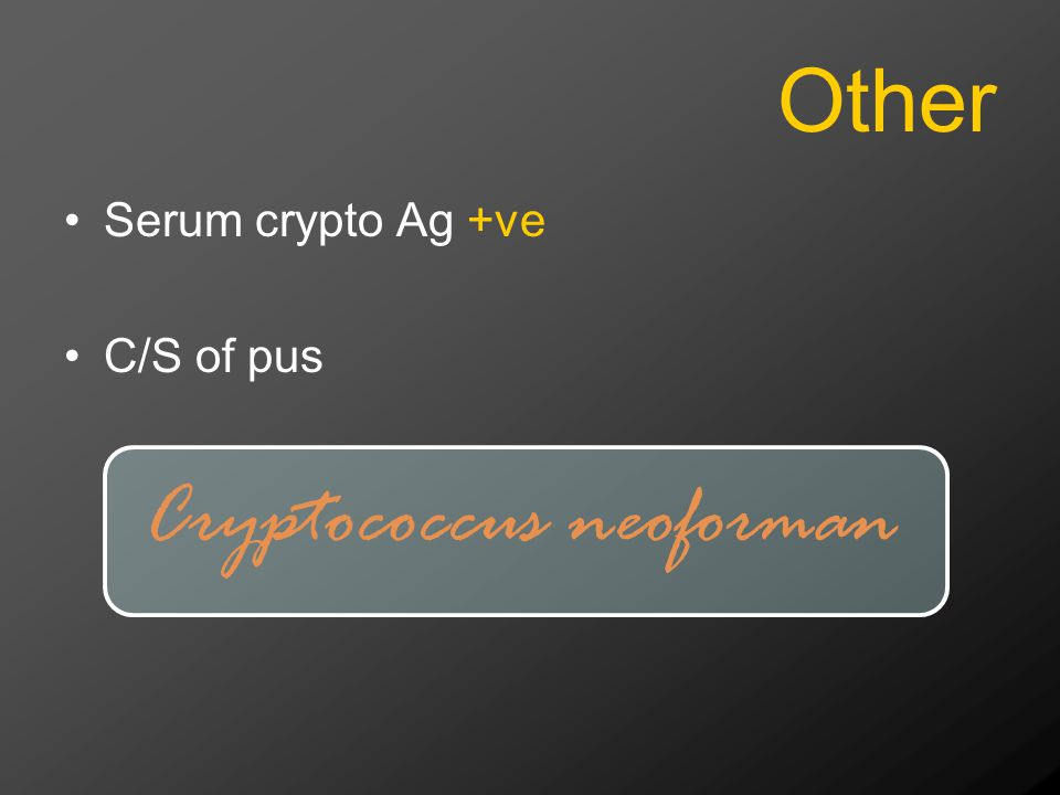 Other Serum crypto Ag +ve C/S of pus Cryptococcus neoforman