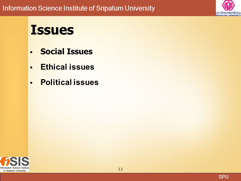 Issues Social Issues Ethical issues Political issues