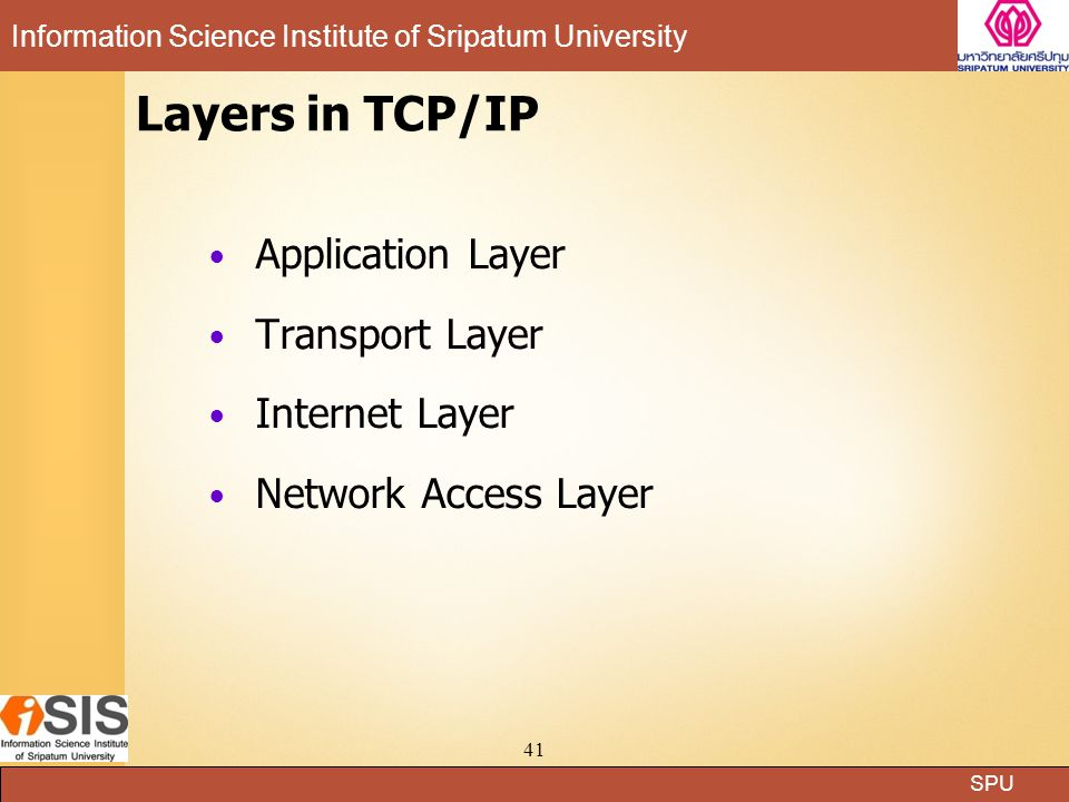 Layers in TCP/IP Application Layer Transport Layer Internet Layer