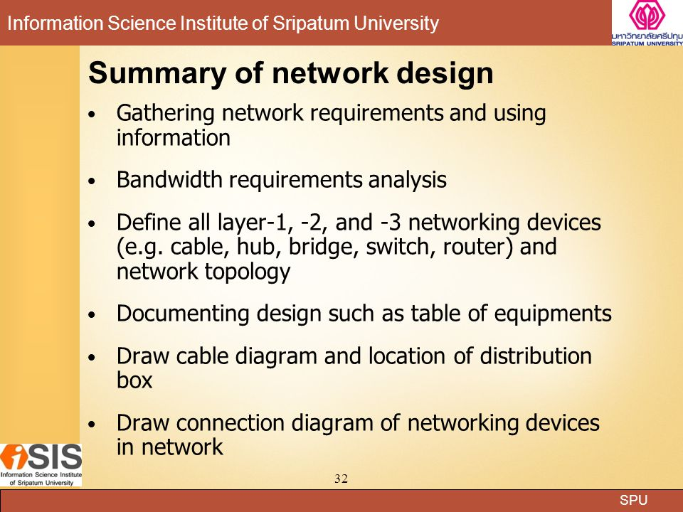 Summary of network design