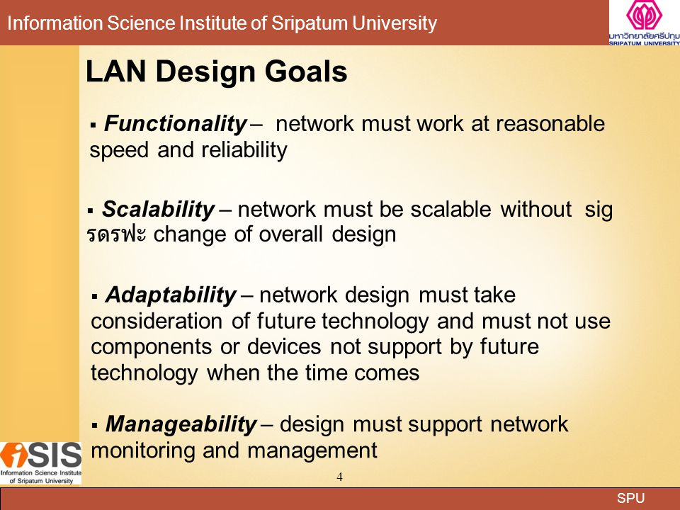 LAN Design Goals Functionality – network must work at reasonable speed and reliability.