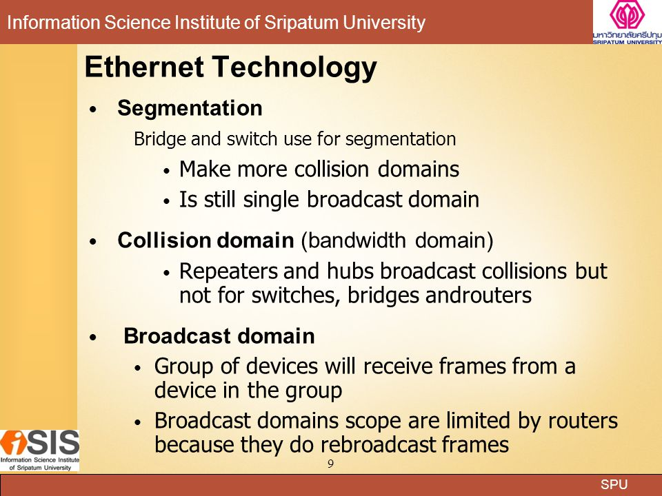 Ethernet Technology Segmentation Make more collision domains