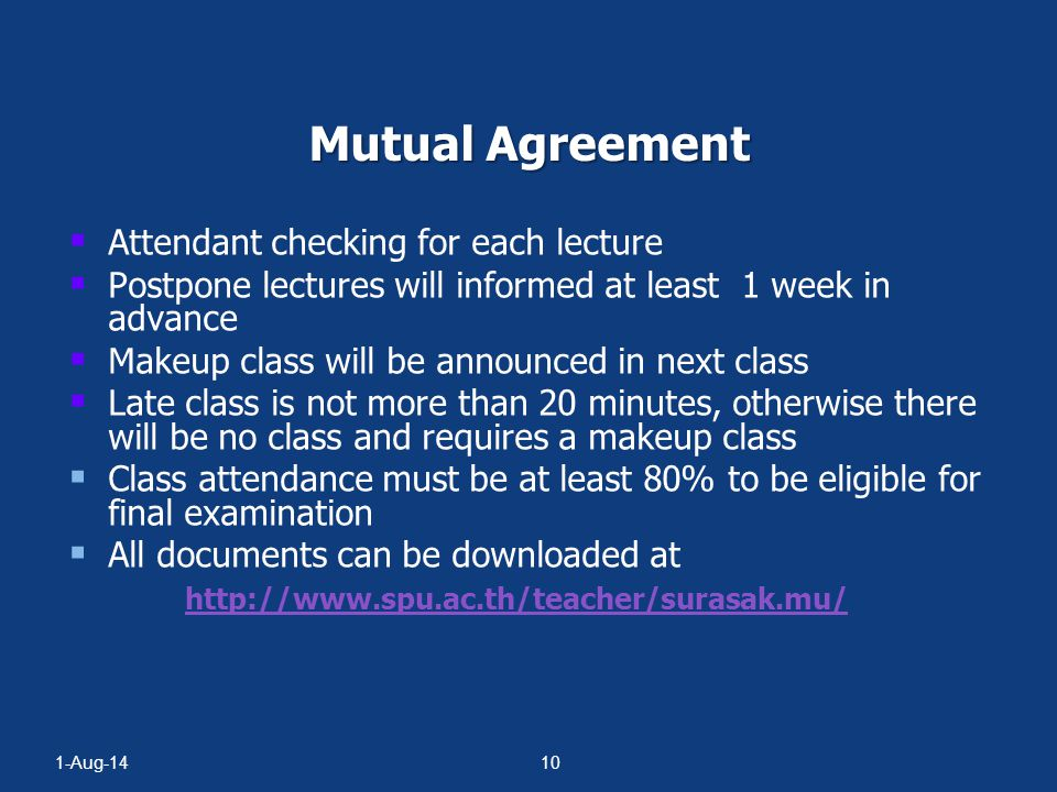 Mutual Agreement Attendant checking for each lecture