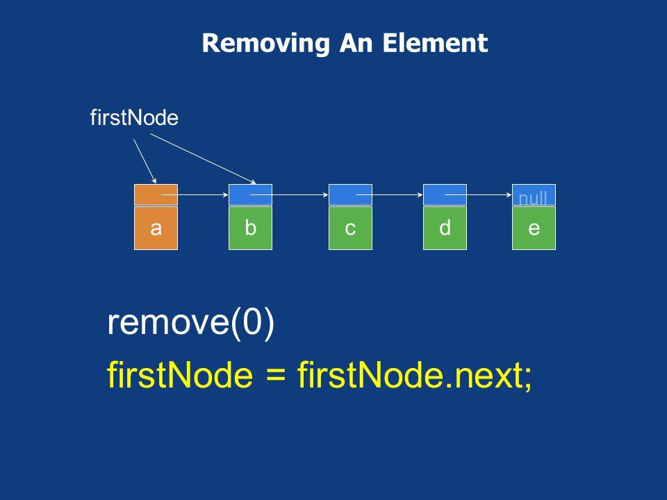 remove(0) firstNode = firstNode.next;
