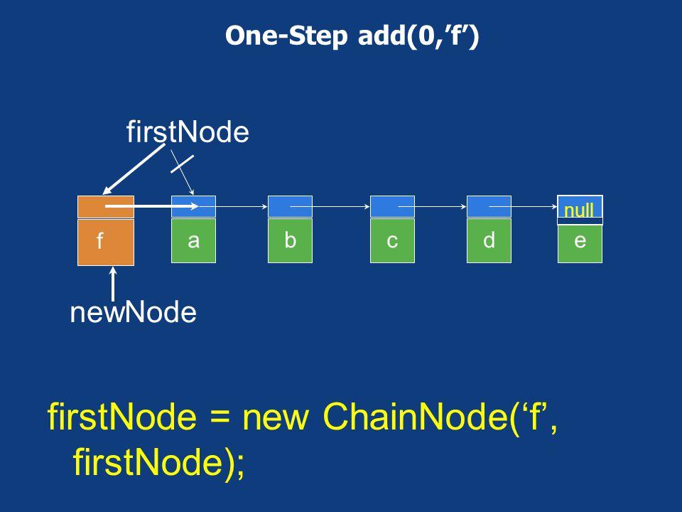 firstNode = new ChainNode('f', firstNode);