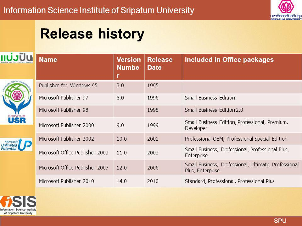 Release history Name Version Number Release Date