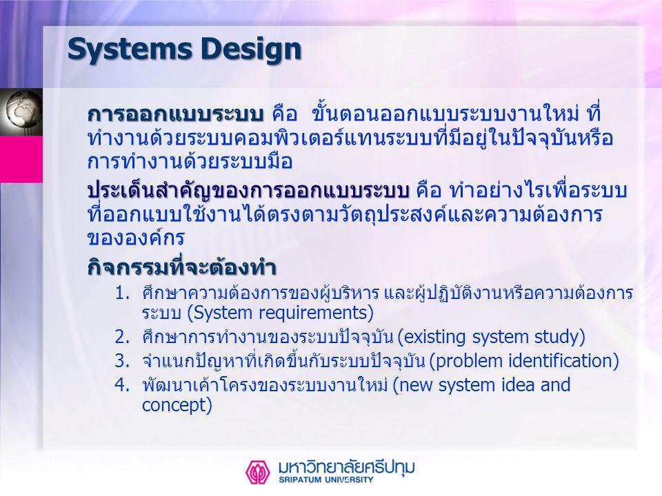 Systems Design กิจกรรมที่จะต้องทำ