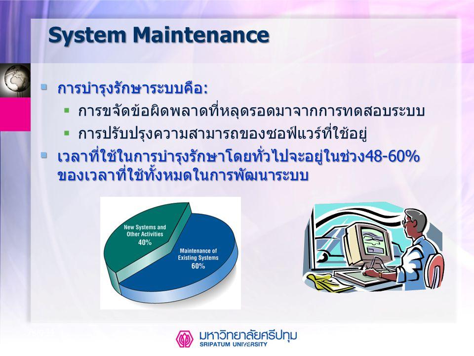 System Maintenance การบำรุงรักษาระบบคือ: