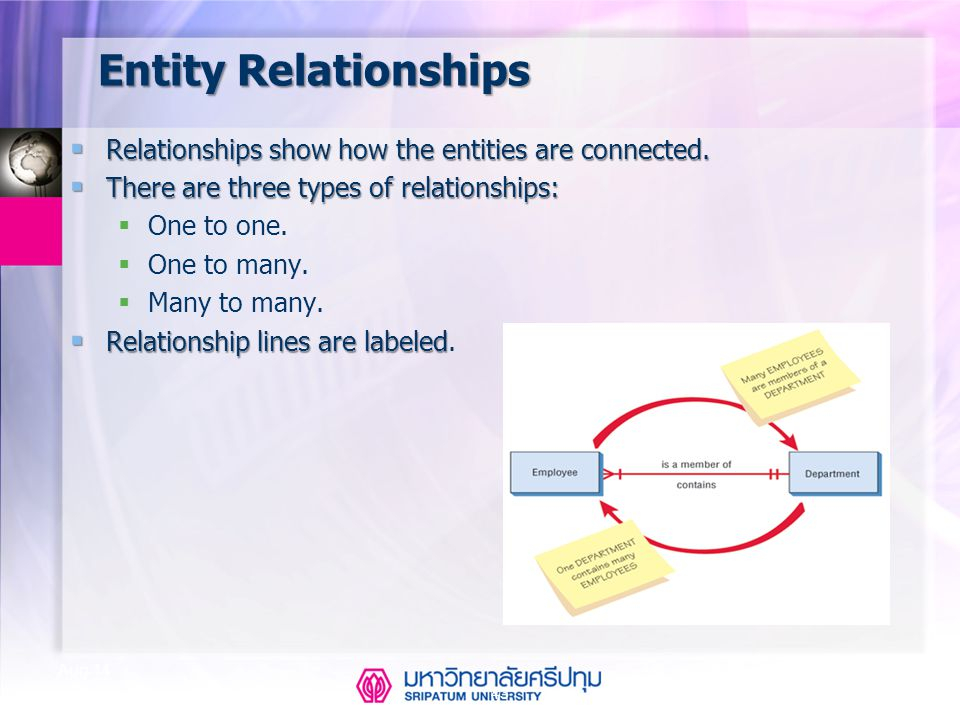 Entity Relationships Relationships show how the entities are connected. There are three types of relationships:
