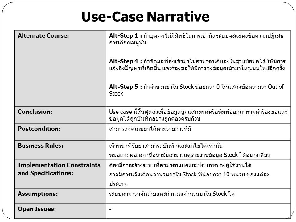 Use-Case Narrative Alternate Course: