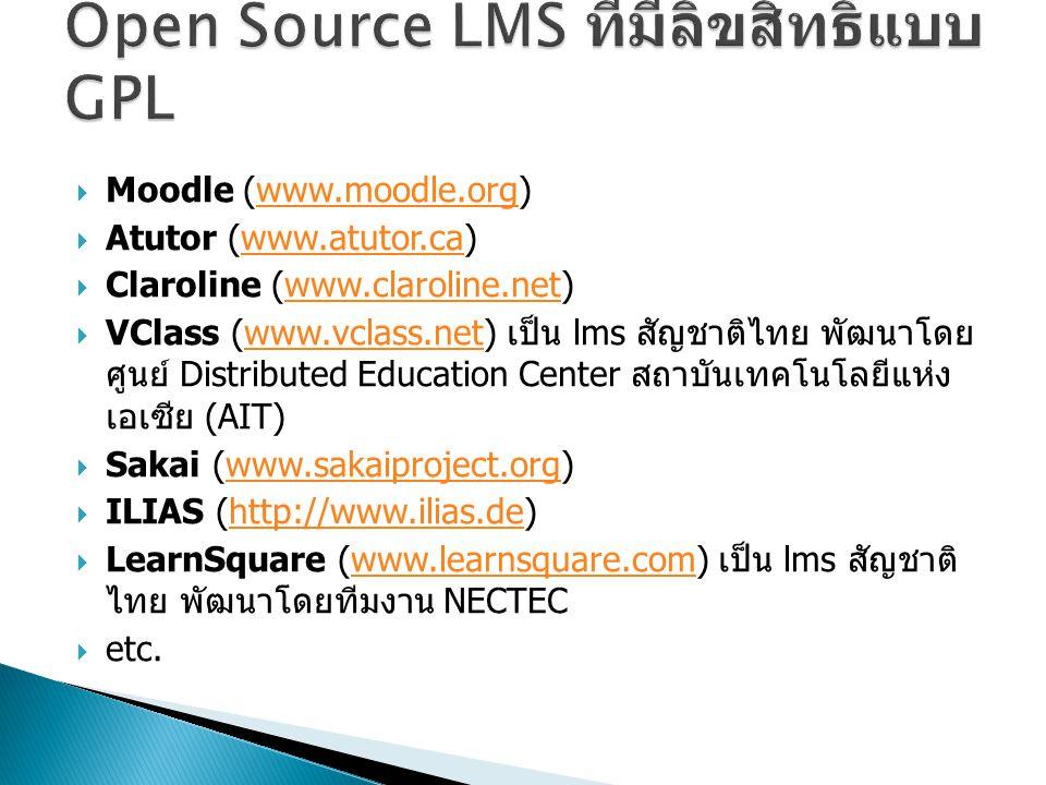 Open Source LMS ที่มีลิขสิทธิ์แบบ GPL