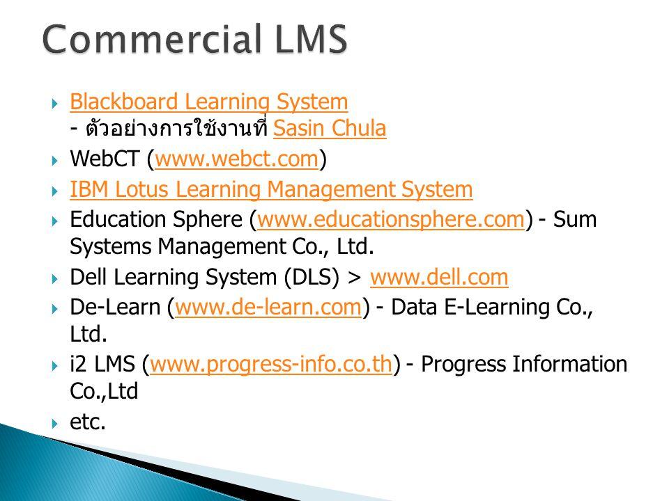 Commercial LMS Blackboard Learning System - ตัวอย่างการใช้งานที่ Sasin Chula. WebCT (www.webct.com)