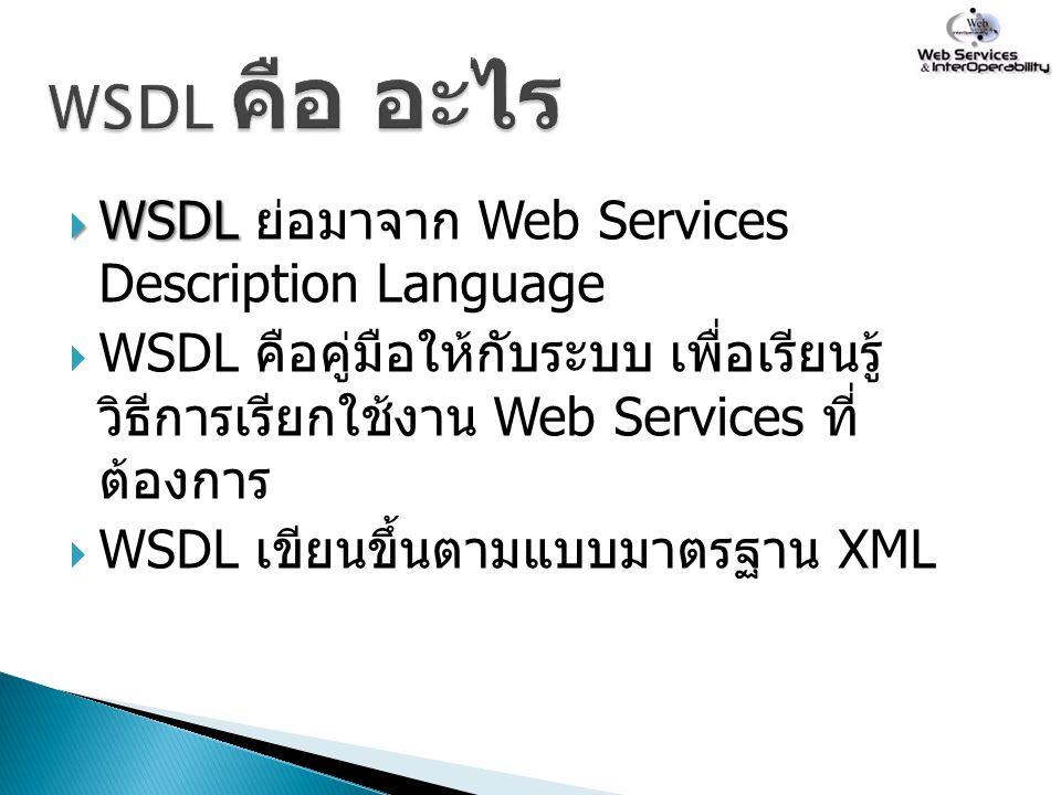 WSDL คือ อะไร WSDL ย่อมาจาก Web Services Description Language
