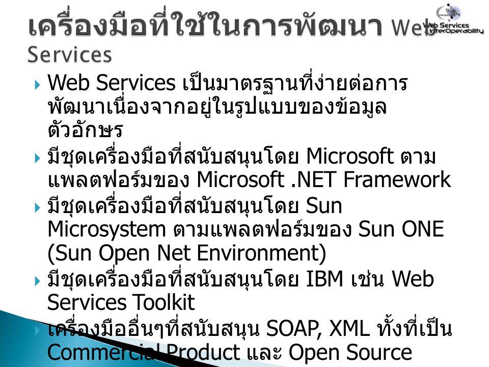 เครื่องมือที่ใช้ในการพัฒนา Web Services
