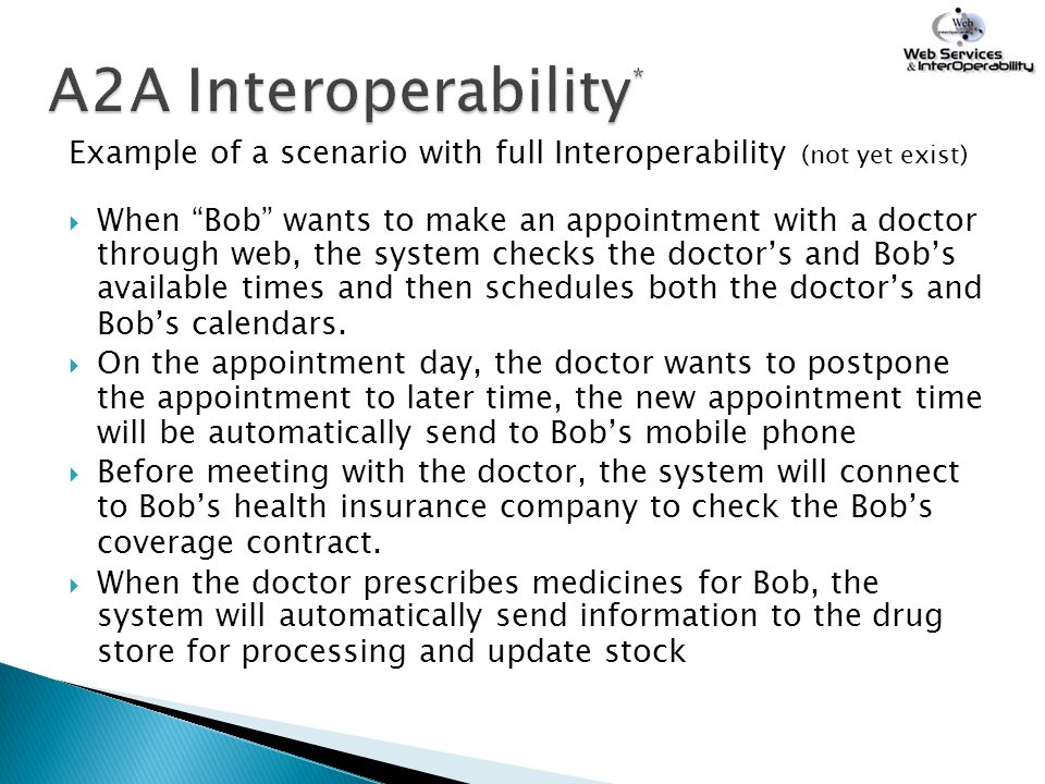 A2A Interoperability* Example of a scenario with full Interoperability (not yet exist)