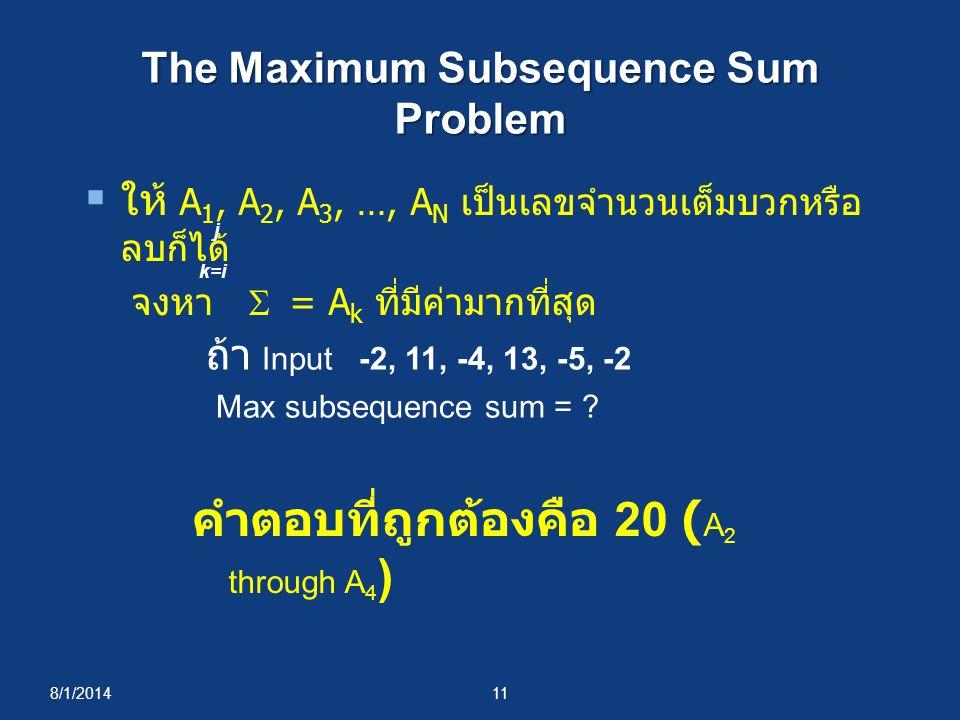 The Maximum Subsequence Sum Problem