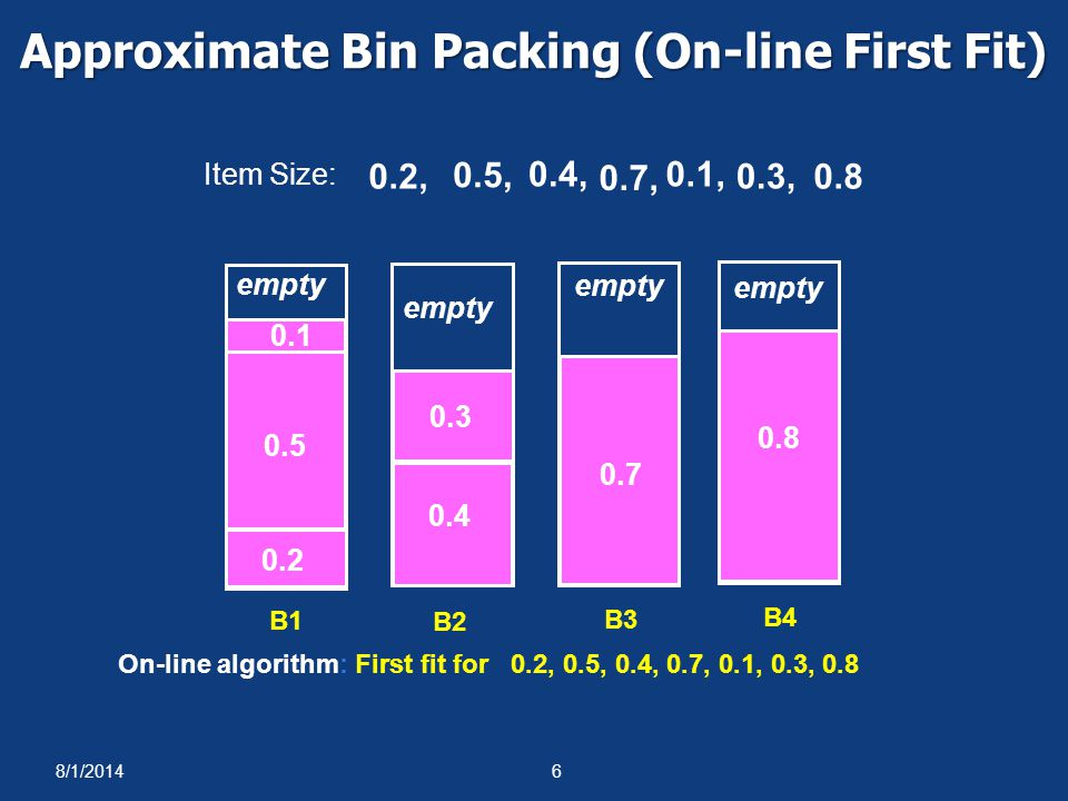 Approximate Bin Packing (On-line First Fit)