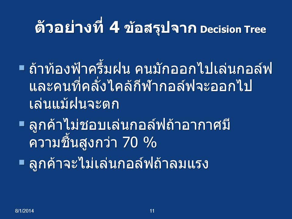 ตัวอย่างที่ 4 ข้อสรุปจาก Decision Tree