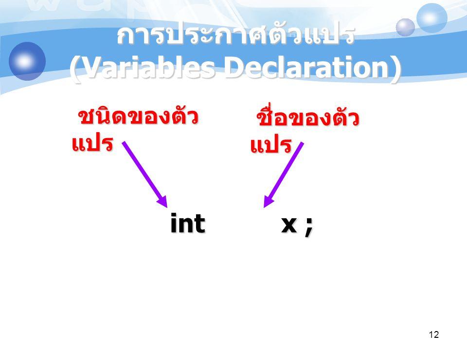 การประกาศตัวแปร (Variables Declaration)