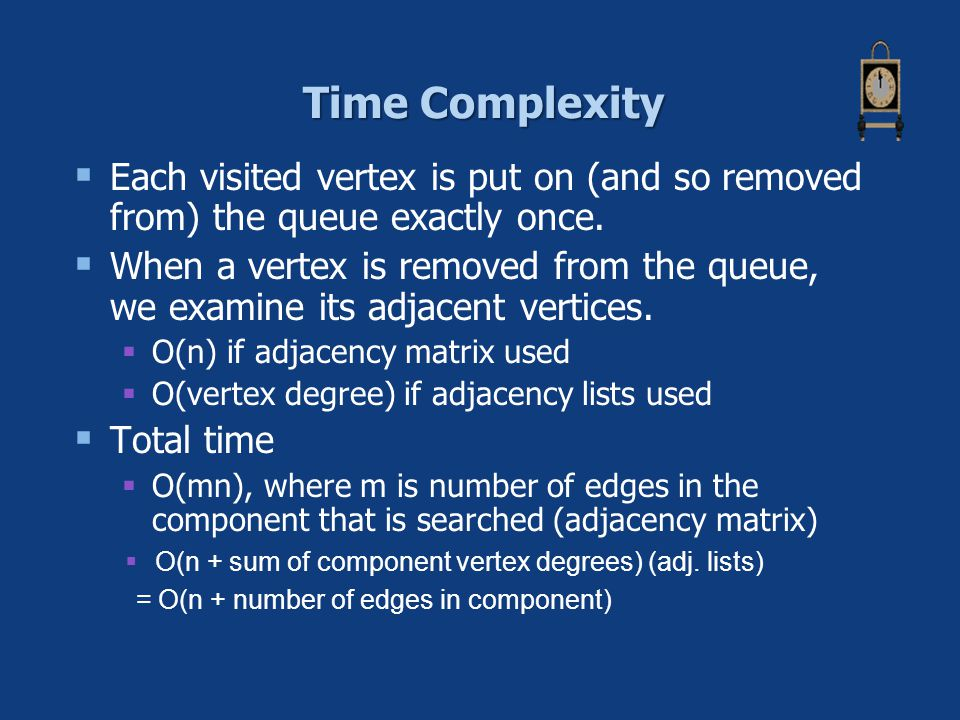 Time Complexity Each visited vertex is put on (and so removed from) the queue exactly once.