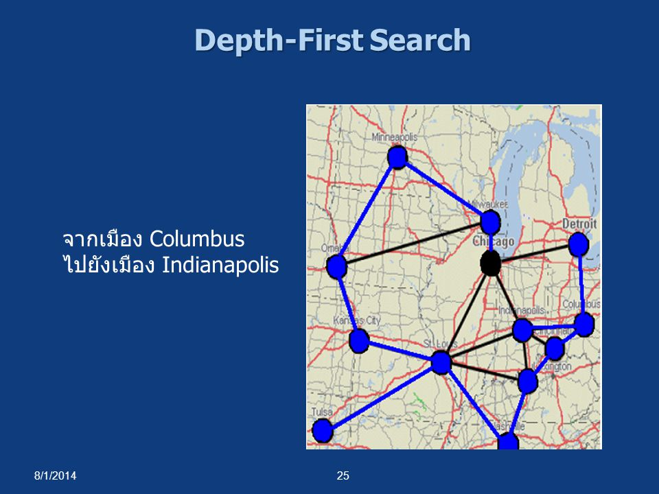 Depth-First Search จากเมือง Columbus ไปยังเมือง Indianapolis 4/4/2017
