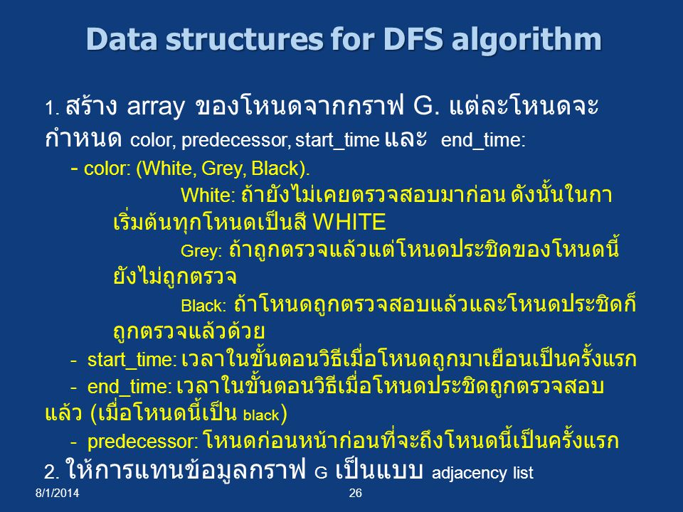 Data structures for DFS algorithm