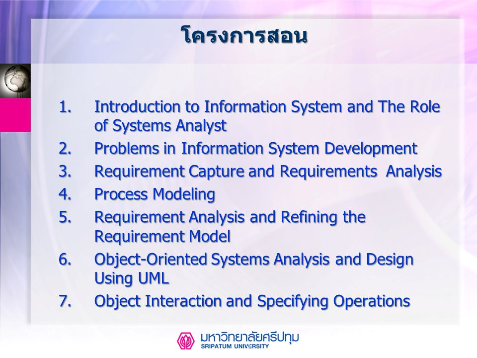 โครงการสอน 1. Introduction to Information System and The Role of Systems Analyst. 2. Problems in Information System Development.