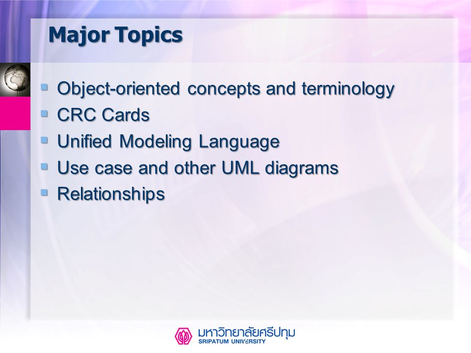 Major Topics Object-oriented concepts and terminology CRC Cards