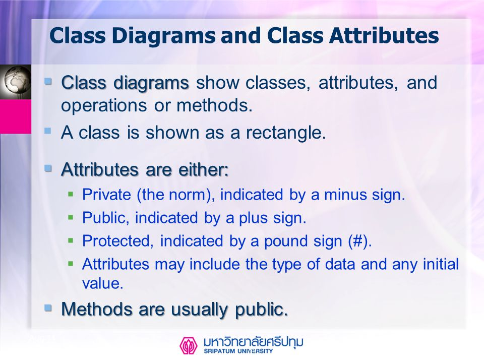 Class Diagrams and Class Attributes