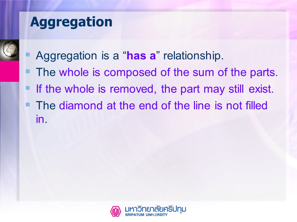 Aggregation Aggregation is a has a relationship.