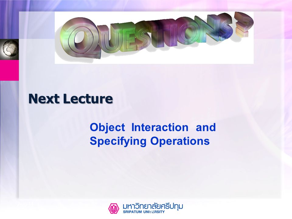 Next Lecture Object Interaction and Specifying Operations Apr-17
