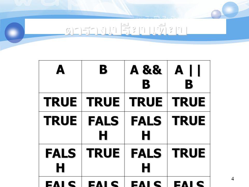 ตารางเปรียบเทียบ A B A && B A || B TRUE FALSH