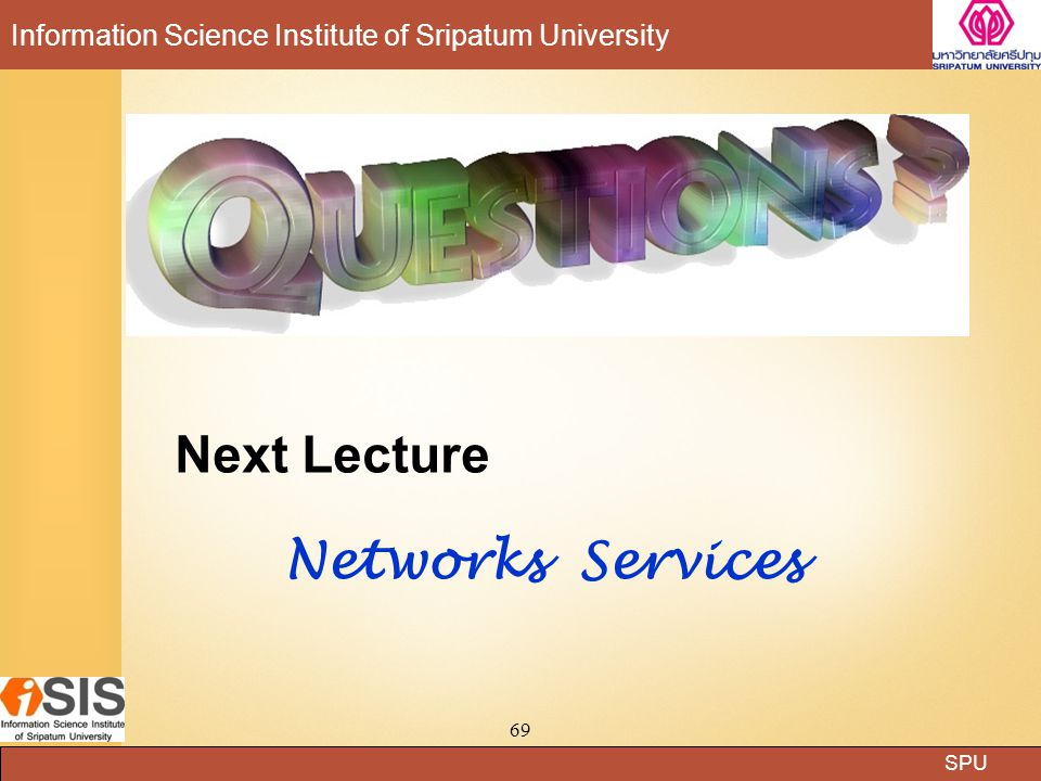 Next Lecture Networks Services