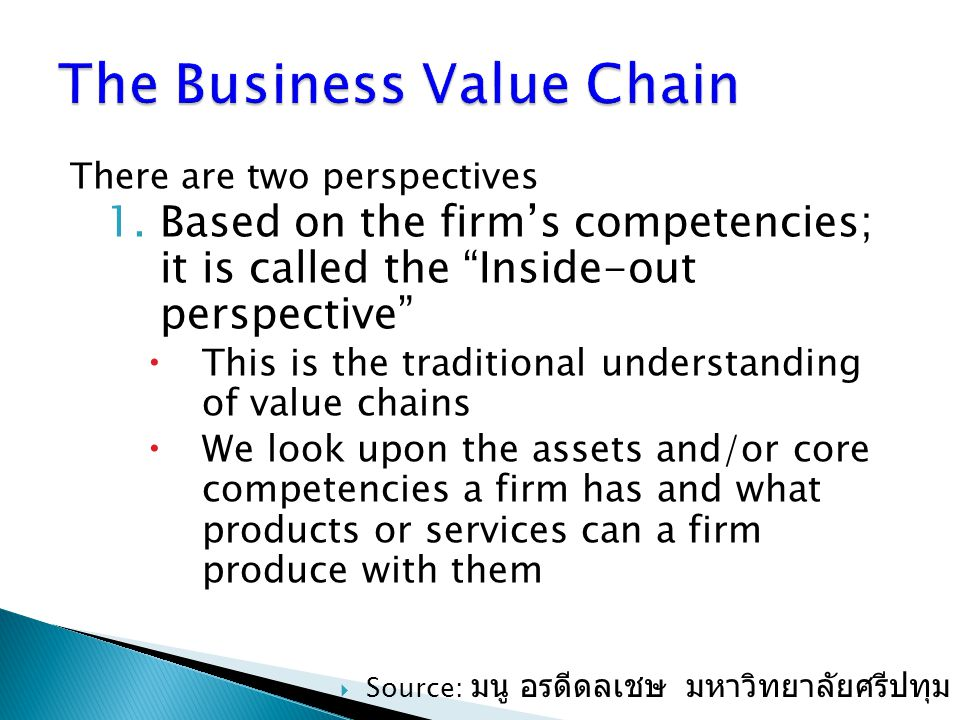 The Business Value Chain