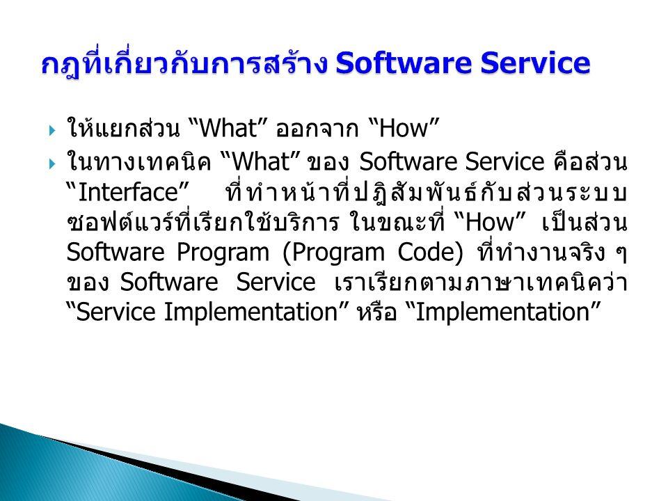 กฎที่เกี่ยวกับการสร้าง Software Service