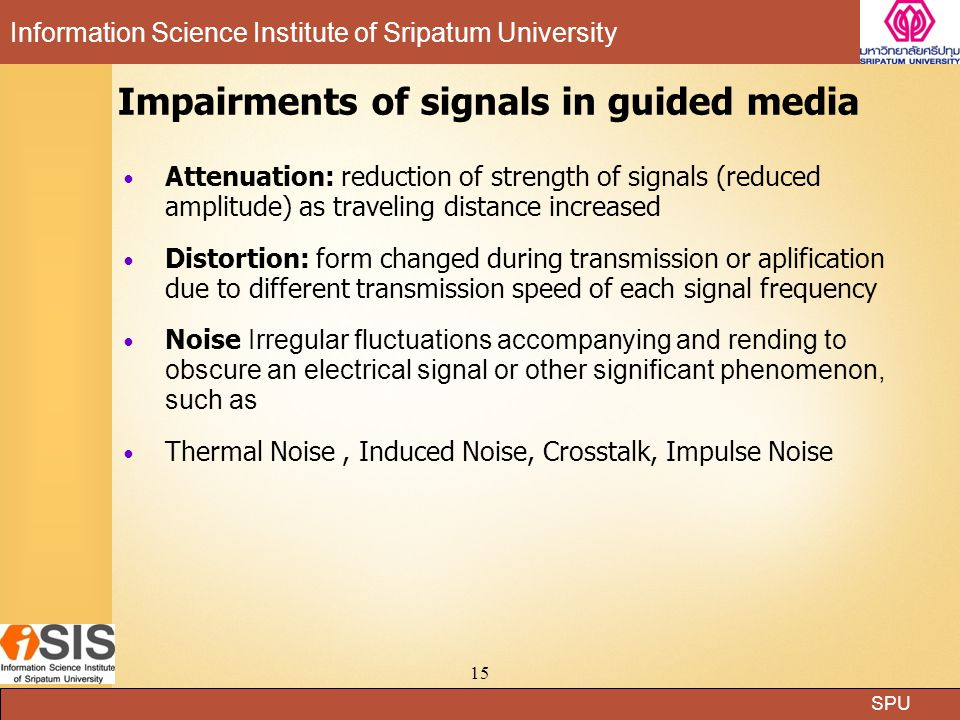 Impairments of signals in guided media