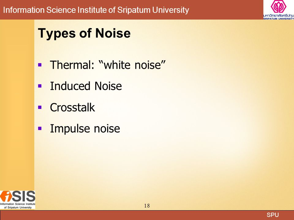 Types of Noise Thermal: white noise Induced Noise Crosstalk