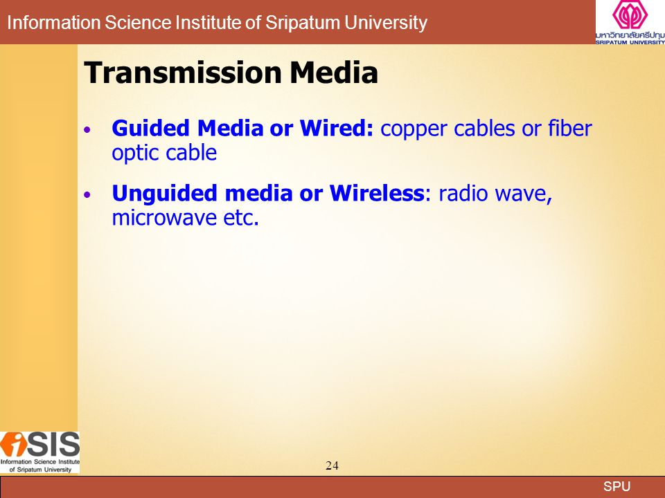 Transmission Media Guided Media or Wired: copper cables or fiber optic cable. Unguided media or Wireless: radio wave, microwave etc.