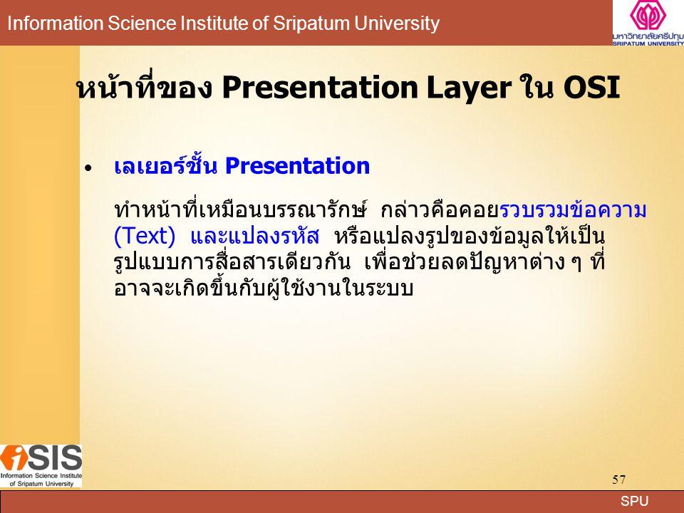 หน้าที่ของ Presentation Layer ใน OSI