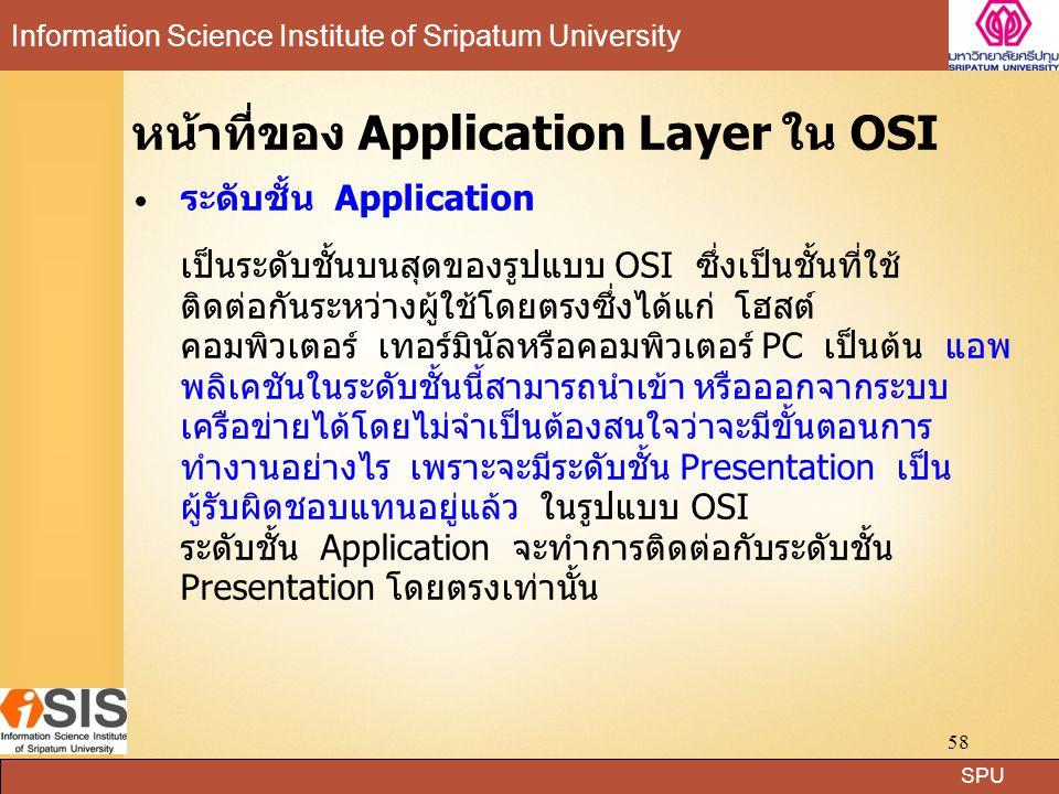 หน้าที่ของ Application Layer ใน OSI