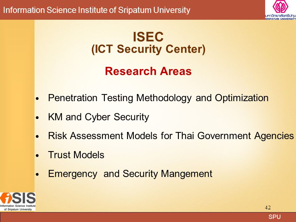 ISEC (ICT Security Center) Research Areas