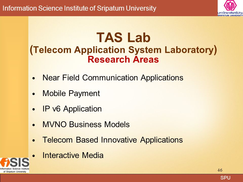 TAS Lab (Telecom Application System Laboratory) Research Areas