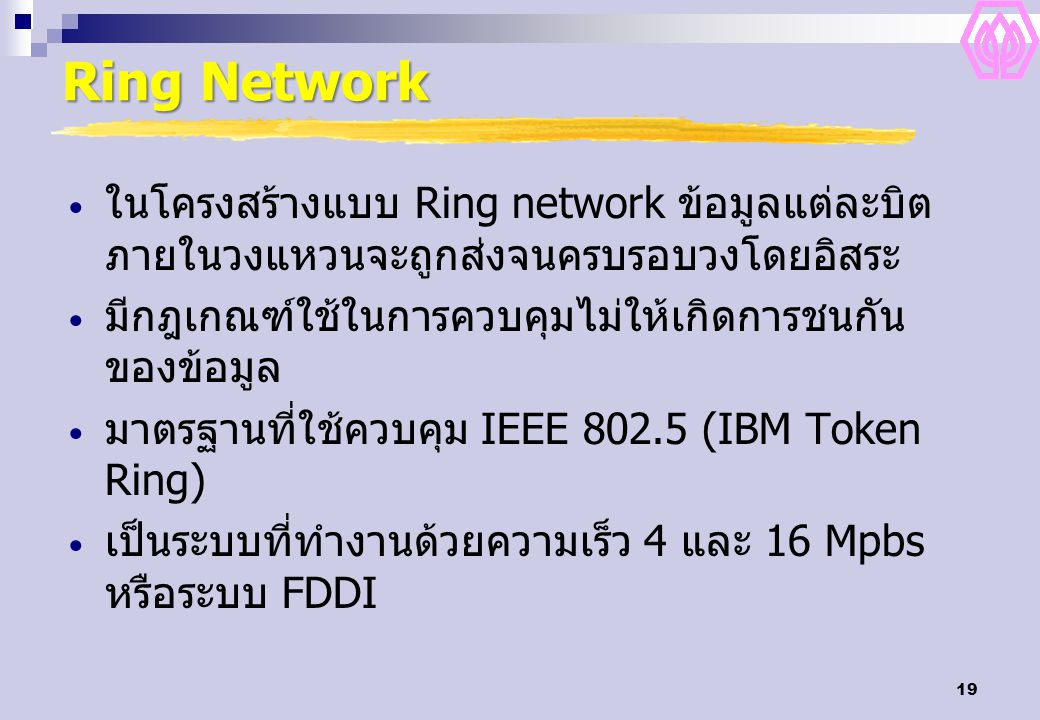 Ring Network ในโครงสร้างแบบ Ring network ข้อมูลแต่ละบิตภายในวงแหวนจะถูกส่งจนครบรอบวงโดยอิสระ. มีกฎเกณฑ์ใช้ในการควบคุมไม่ให้เกิดการชนกันของข้อมูล.