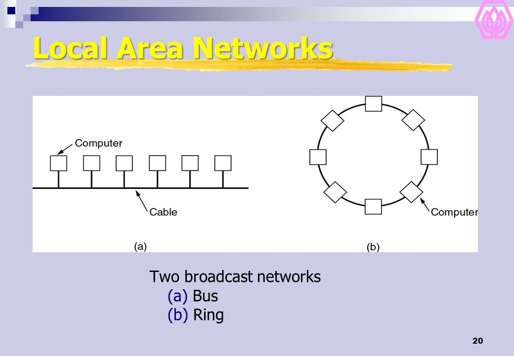 Local Area Networks Two broadcast networks (a) Bus (b) Ring