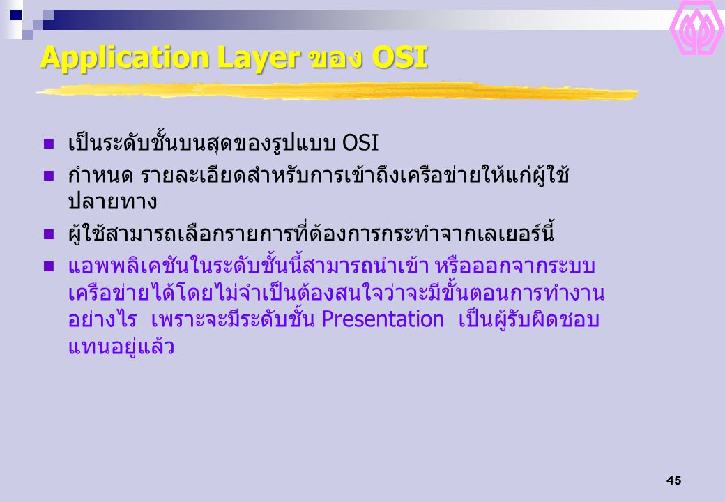 Application Layer ของ OSI