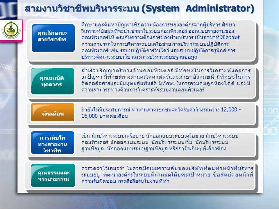 สายงานวิชาชีพบริหารระบบ (System Administrator)