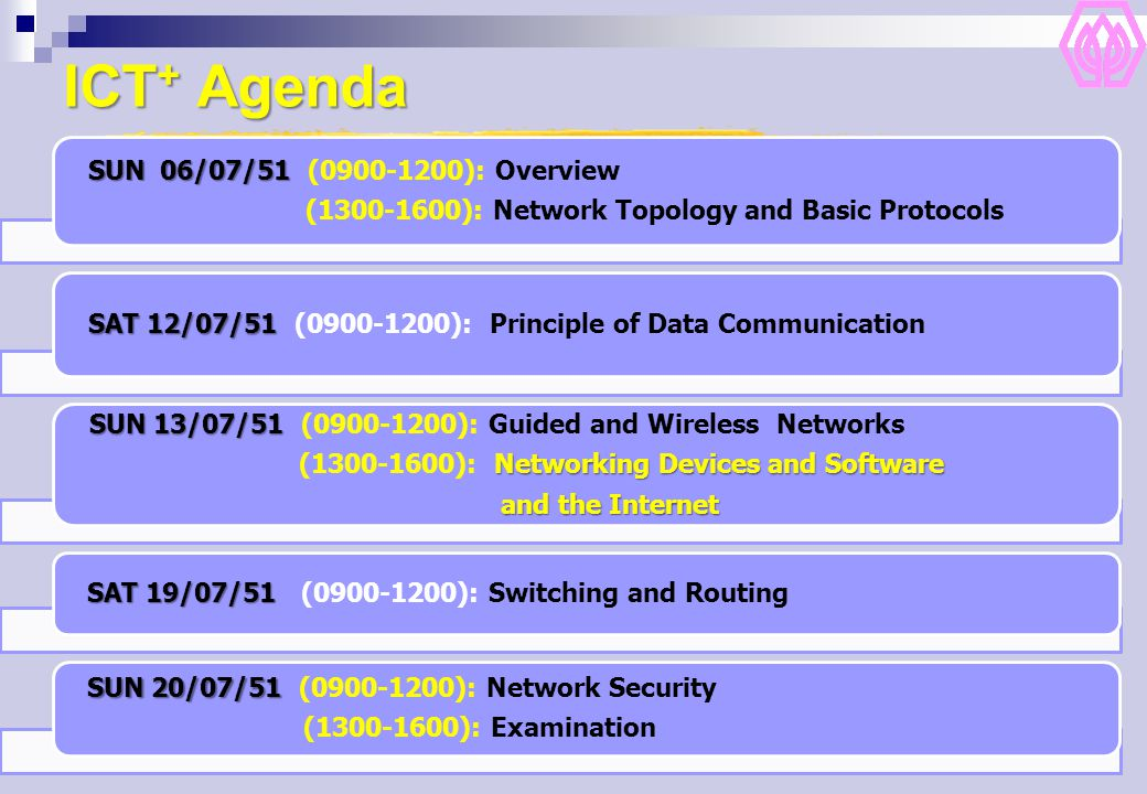 ICT+ Agenda SUN 13/07/51 ( ): Guided and Wireless Networks