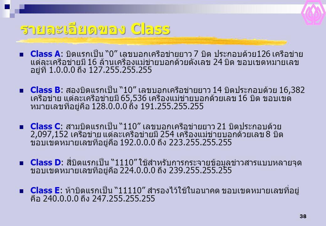 รายละเอียดของ Class