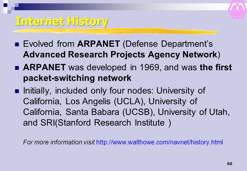 Internet History Evolved from ARPANET (Defense Department's Advanced Research Projects Agency Network)
